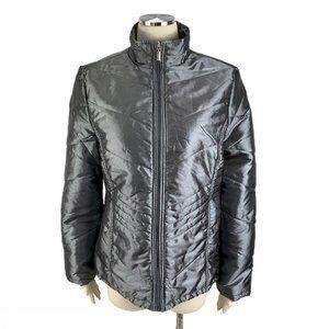 Jane Ashley XL Gray Poof Jacket Zip Winter Lined